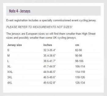 jersey sizes